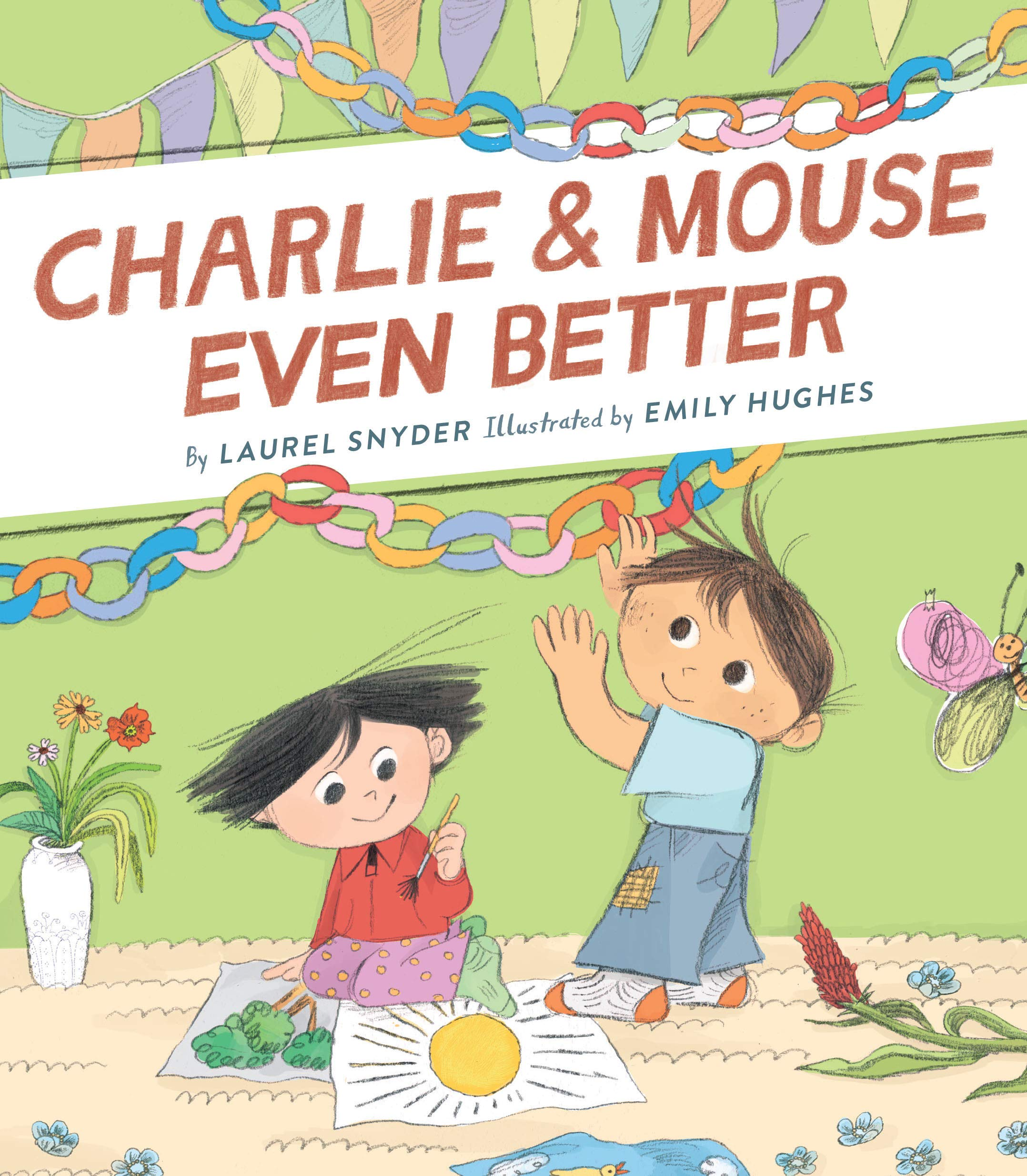 Two young boys decorate for a birthday party on the cover of this early reader, one hanging colorful paper chains and the other drawing a picture of a sun.