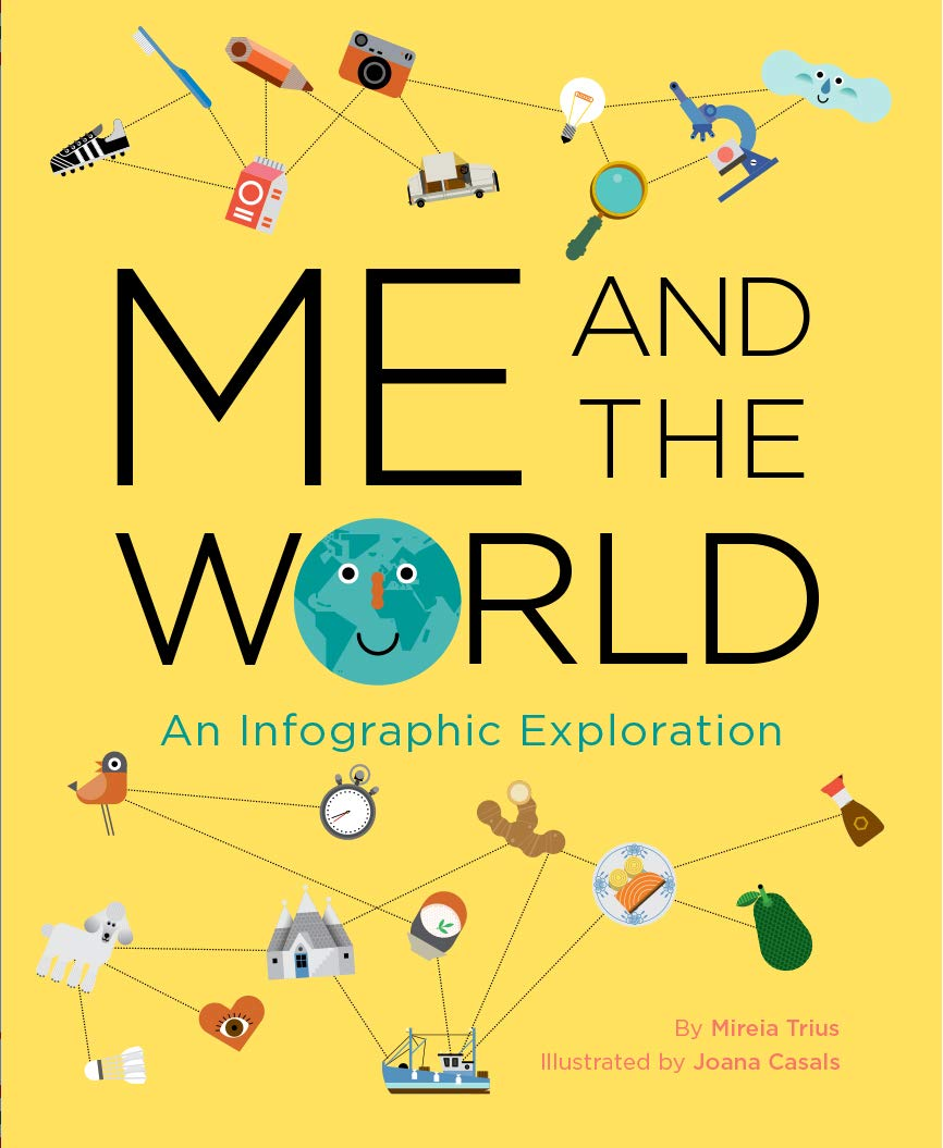 A bright yellow cover filled with icons (lightbulbs, cars, boats, animals, food, and more) all connected with dotted lines in an infographic style.