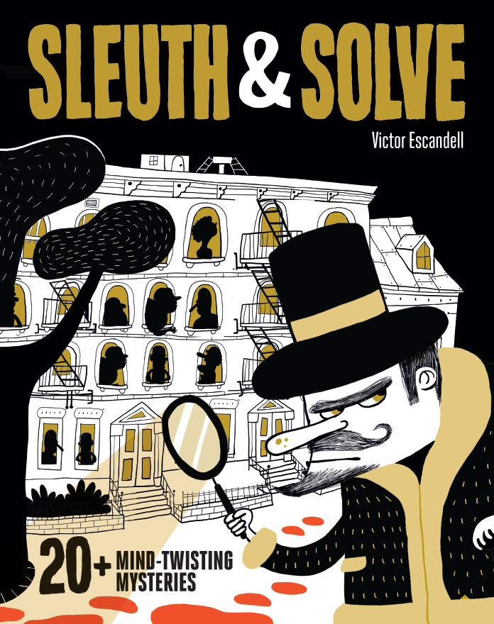 A black cover with a moustached detective in the foreground, apartments with silhouettes in the windows in the background. A magnifying glass in the detective's hand casts a shadow on an ominous trail of blood leading away to the left.