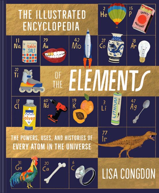 An indigo cover with a gold foil grid emulating the periodic table of the elements, with spot art including hot air balloons, roller skates, a rooster, and more.