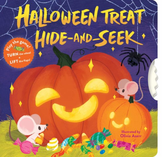 A novelty board book cover with pumpkins against a purple backdrop, surrounded by candies, little mice, and friendly spiders. The right edge of the book features a wheel that can be spun.