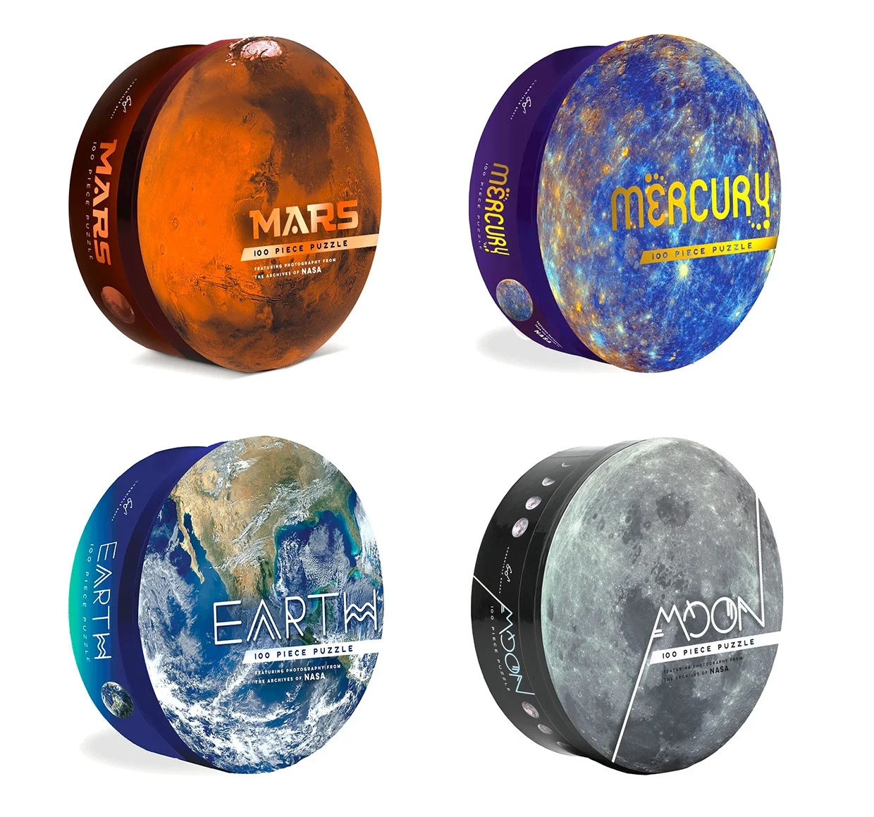 Four circular puzzle boxes, from top left to bottom right: Mars, Mercury, Earth, and Moon, each featuring a different foil treatment on the title.