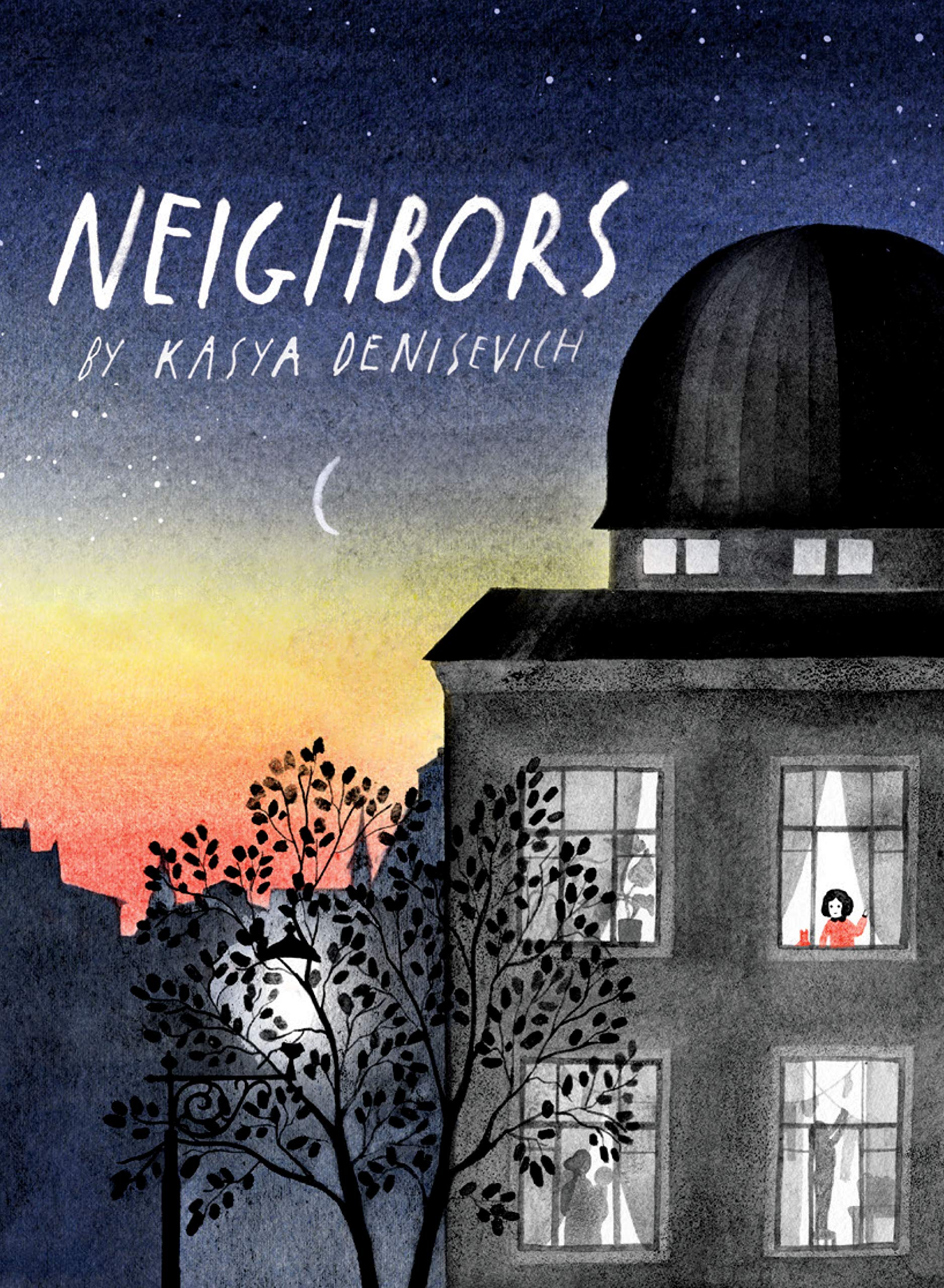 A picture book cover featuring a gray, domed apartment building against a dusky night sky dotted with stars. A girl in red stands in the building's topmost right window, looking out at the night.