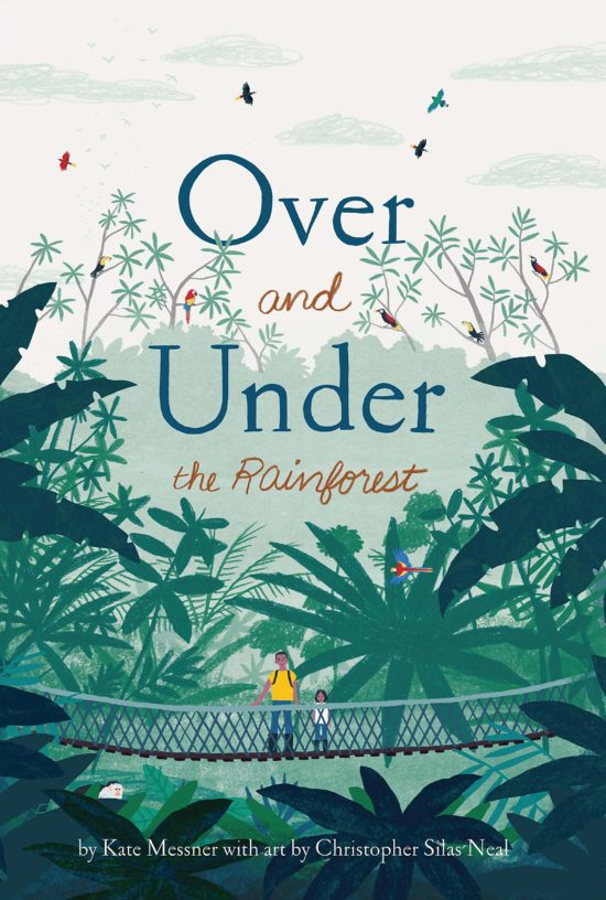 A picture book cover depicting two characters standing on a wooden bridge in a lush rainforest canopy giving way to sky.