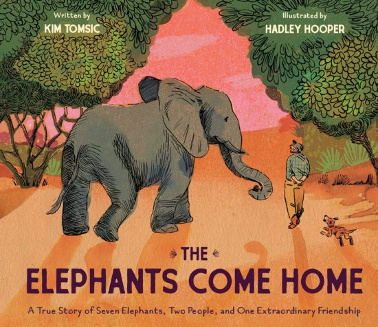 A picture book cover showing an elephant and a middle-aged man with a beard, walking together against a backdrop of acacia trees and a rich pink sky.