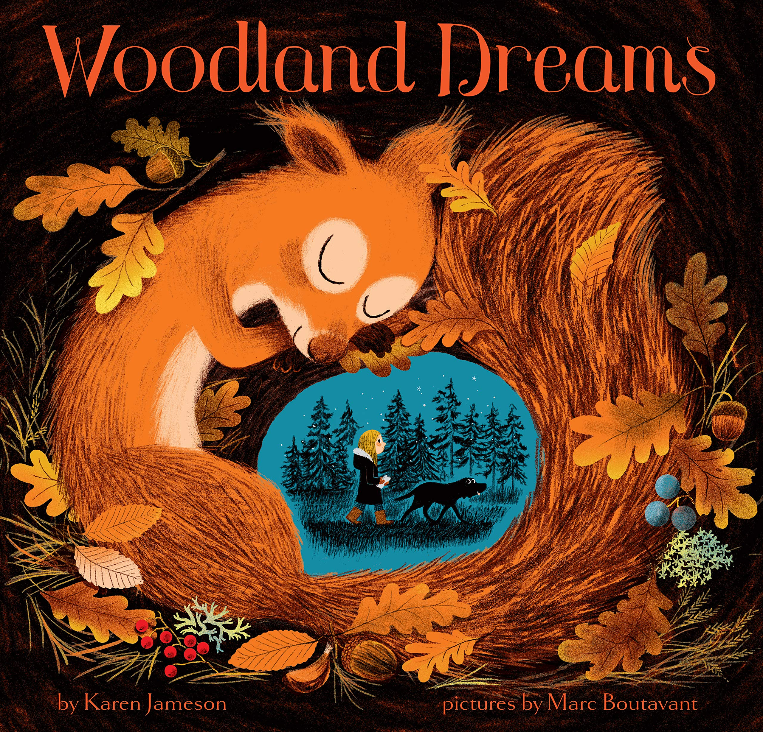 A picture book cover depicting an orange squirrel against a black background, curled around a vignette of a girl and her dog exploring the woods at twilight.